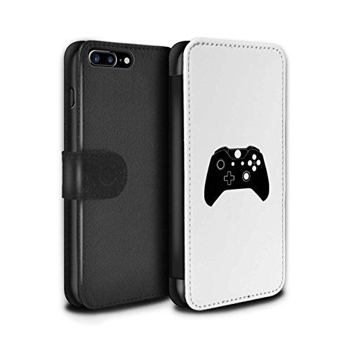 Stuff4 Coque/Etui/Housse Cuir PU Case/Cover pour Apple iPhone 8 Plus / Xbox 360 Noir Design / Manette Jeux Vidéo Collection Xbox One Noir