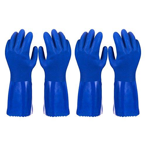 2Stück Paar Haushalts-Handschuhe Baumwolle gefüttert Gericht Handschuhe-Geschirrspülen Handschuhe-Gummi Handschuhe-Küche Handschuhe, Blau