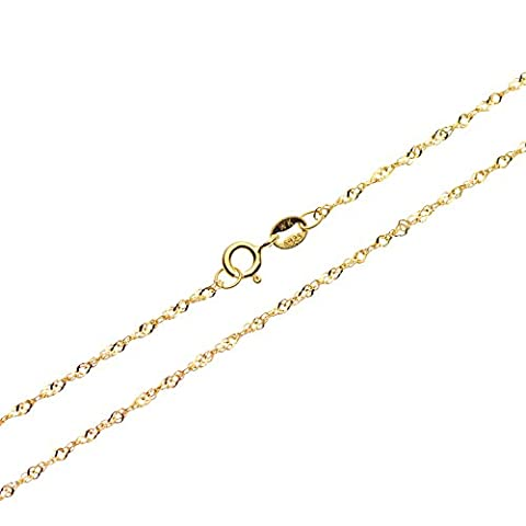 SWEETV 18K Gold Plated Sterling Silver 1mm Singapore Chain Necklace Jewelry - Italian Crafted, Nickel Free,