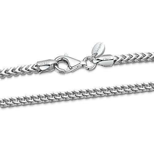 Amberta 925 Sterling Silber Halskette für Herren - Rhodiniert - Panzerkette (Franco Kette) 2.5 mm - 70 cm