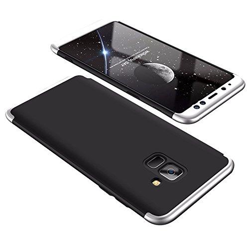 Samsung Galaxy A8 Hülle ,Galaxy A8 Plus 3 in1 Bühne Allround Scrub Schutz Shell Cover Ultra Dünner PC Handy Hard Shell für Galaxy A8+ Plus Case (silver+black, Samsung Galaxy A8 2018) (3 In1 Handy)