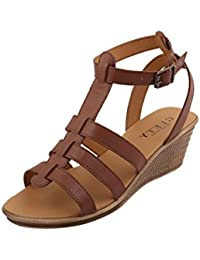 GLETY the shoe parlour Generic BG-4321 Women's Brown Synthetic Leather Wedge Heel Sandal, Size : 41
