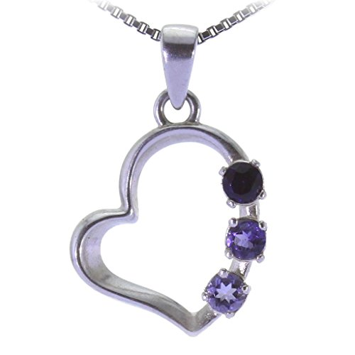 Natural Iolite Gemstone 3 stones HEART Pendant 2g 925 Sterling Silver 25mm
