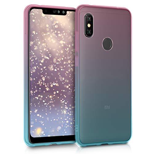 kwmobile Funda para Xiaomi Redmi Note 6 pro - habitatges [TPU] para móvil y diseño Bicolor en [Rosa Fucsia/Azul/Transparente]
