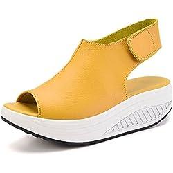Bdawin Shape Ups Mujer Cuero Confort Peep Toe Cuña Sandalias Plataforma Tacón Zapatos Para Caminar (EU42, Amarillo)