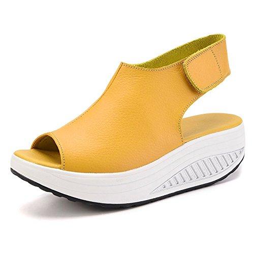 DAFENP Damen Sandalen Wedge Keilabsatz Plateau Leder Sandaletten Peep Toe High Heels Komfort GehenSchuhe,LX908-1-Yellow-EU41 Super Platform High Heel Schuh