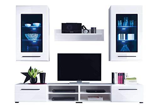Avanti trendstore - pandora - parete da soggiorno in laminato di colore bianco lucido, con illuminazione led compresa, dimensioni: lap 240x190x45 cm