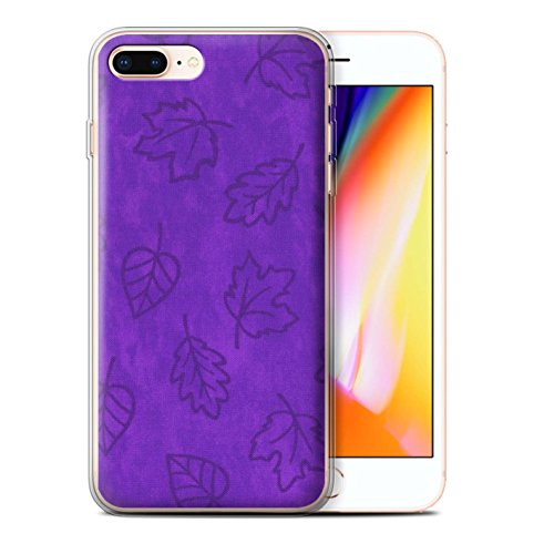 Stuff4 Gel TPU Hülle / Case für Apple iPhone 8 Plus / 7 Pack / Blatt Muster/Textil Effekt Kollektion Lila