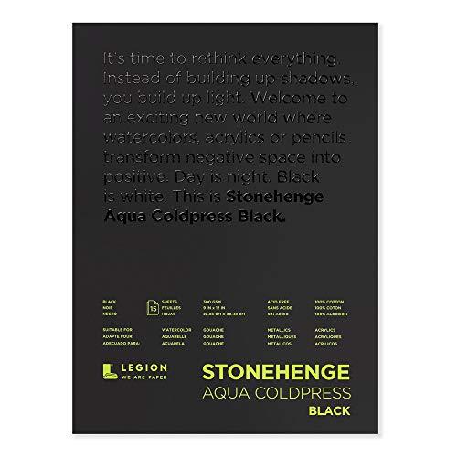 Stonehenge 1 Legion Aquarell-Pad, 140 kg, Kaltpresse, 22,9 x 30,5 cm, schwarzes Papier, 15 Blatt