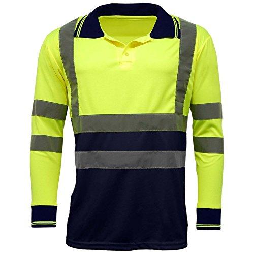 MyShoeStore Hi Viz Haute visibilité Haute visibilité Polo Bande réfléchissante de sécurité Sécurité Travail Bouton T-Shirt Respirant léger Double Bande Workwear Top S-7X L - Jaune - Small
