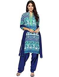 Jaipur Kurti Blue And Royal Blue Cotton Printed Salwar Kurta Dupatta