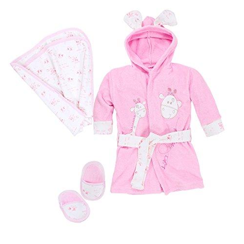Bebessi Baby Bademantel Set mit Badetuch Schuhe Mädchen, Rosa, Gr. 6-12 Monate