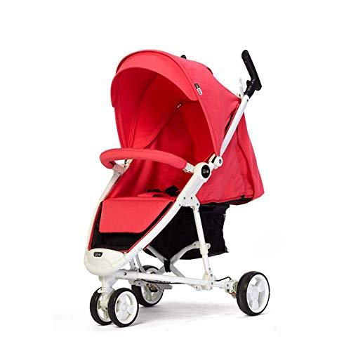 L@LILI Leichter kompakter Reise-Kinderwagen für den Flugzeugbau - Einhand-Taschenschirm für Kinderwagen, Full Reclin up 170, Zuggriff, Mit Regenschutz,Purple,B