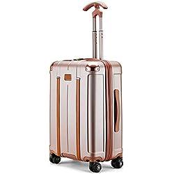 JBAG Bagages roulants légers pour PC, Roues à roulettes pivotantes à 360 degrés, Valise Professionnelle pour Chariot à capacité élevée avec verrou TSA pour Hommes, Femmes,Rosegold