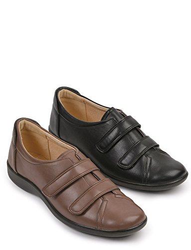 Fixer De Dames Double Sangle Velcro Chaussure Noir