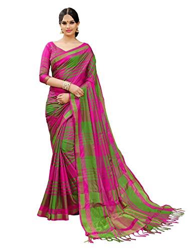 Art Decor Sarees Cotton Saree with Blouse Piece (E Kart!_Pink & Green!_Free Size)