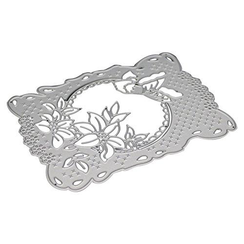 Zmigrapddn Emporte-pièce en Métal avec Cadre Rectangulaire - Motif Fleur - pour Scrapbooking, Gaufrage, Album, Carte en Papier , Silver, 0.8cm x 14cm