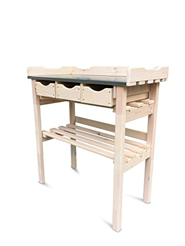 Table de jardinage avec 3 tiroirs en bois, Plateau Zinc, lasuré blanc translucide B78 x T38 x H82 cm