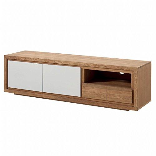 PierImport Meuble TV Bois Bicolore Naturel/laqué Blanc en Chêne Massif 2 Portes, 1 tiroir, 1 Niche 180x48x50cm MALMOE