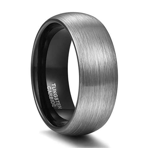 Titaniumcentral 6mm/8mm Wolframcarbid Ringe Gebürstet Trauringe Verlobungsringe (Schwarz(8mm), 58 (18.5))