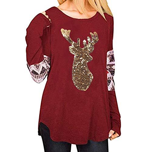 (OverDose Damen Tuniken Pullover Festival Weihnachten Frauen Rentier Blusen T-Shirt Xmas Party Clubbing Schlank Langarmshirts(Y-Rot,EU-34/CN-S))