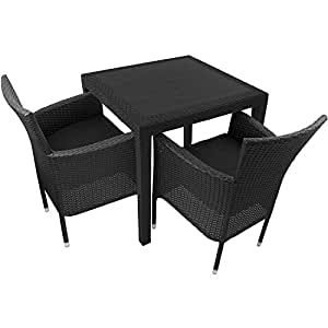 3 teiliges gartenm bel set gartengarnitur kunststofftisch 79x79cm rattan optik. Black Bedroom Furniture Sets. Home Design Ideas