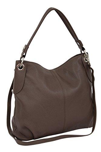 Leder Tasche Beutel (AMBRA Moda Damen echt Ledertasche Handtasche Schultertasche Beutel Shopper Umhängtasche GL012 (Stein))