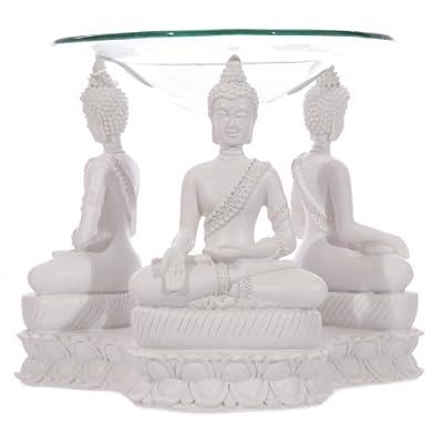 Puckator BUD159 Thai Oil Burner Buddha Design White 12.5 x 15 x 11.5 cm