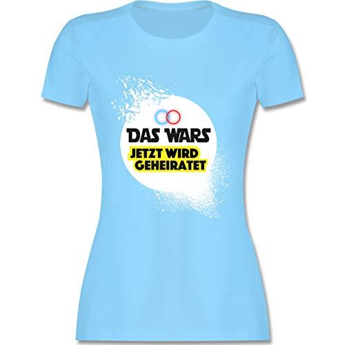 JGA Junggesellinnenabschied - Das Wars Jetzt Wird geheiratet Ringe - M - Hellblau - L191 - Damen Tshirt und Frauen T-Shirt