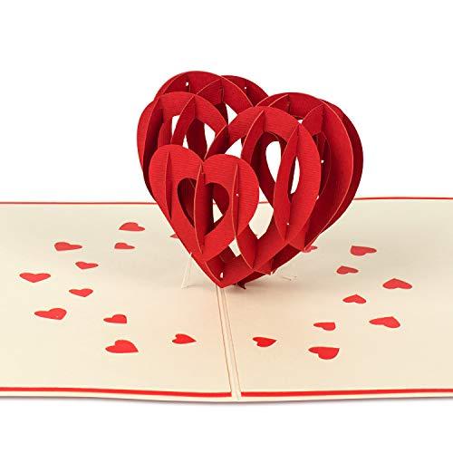 PaperCrush® Pop-Up Karte Valentinstag 3D Herz (Groß) - Besondere Valentinskarte für Sie und Ihn, Romantische Liebeskarte zum Jahrestag oder Hochzeitstag für Frau und Mann (Ich Liebe Dich)