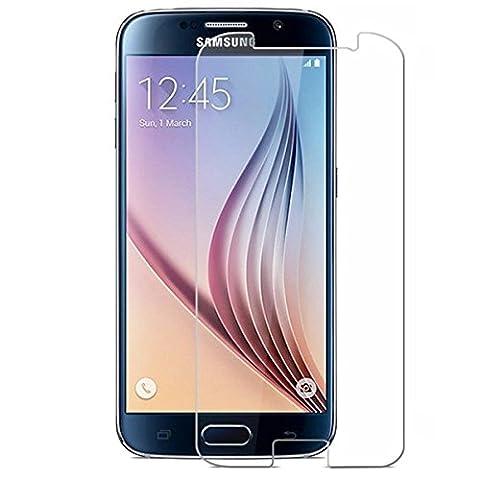 2 Pack Verre Trempé Samsung Galaxy S6, NEWC® Film Protection en Verre trempé écran Protecteur vitre - ANTI RAYURES - SANS BULLES D'AIR -Ultra Résistant (0,33mm HD Ultra transparent) Dureté 9H Glass Screen Protector pour Samsung Galaxy