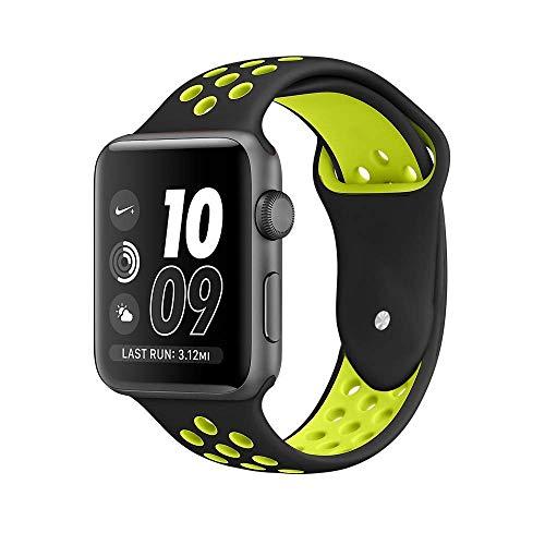 VIKATECH Für Apple Watch Armband 42mm, Weiche Silikon Ersatz Armbänder für Apple Watch Armband 42mm Series 3/2 / 1, Sport, Edition, M/L, Schwarz/Volt
