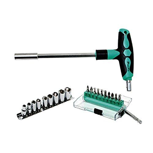 Pro 'sKit sd-9701m Hochwertiger 20in 1Hand Werkzeug T-Griff-Treiber Sockets & Bits Set Schlüssel Driver Set Schraubendreher Set (Socket Bit Treiber)