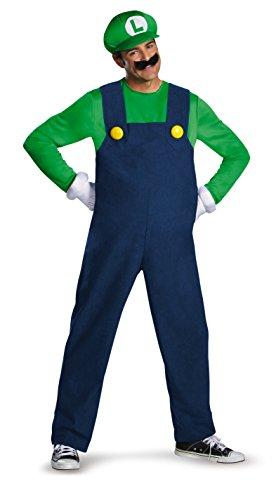 Super Mario–430076–Erwachsenen-Kostüm Luigi Deluxe–Größe 48–50–Grün