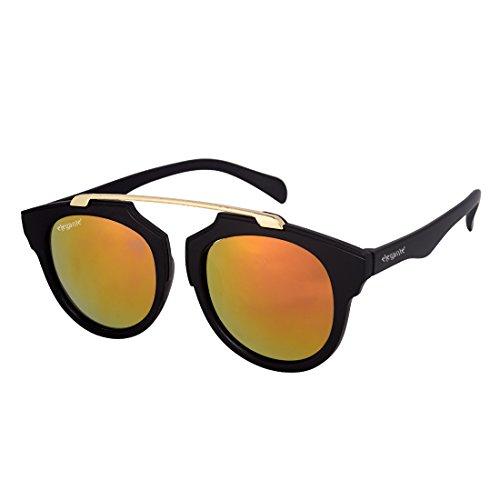 Elegante\' Red Mirrored Unisex Round Sunglasses (Model : elt-11004/M)