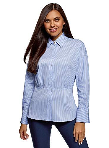 oodji Ultra Damen Bluse mit Taillennaht, Blau, DE 38 / EU 40 / M -