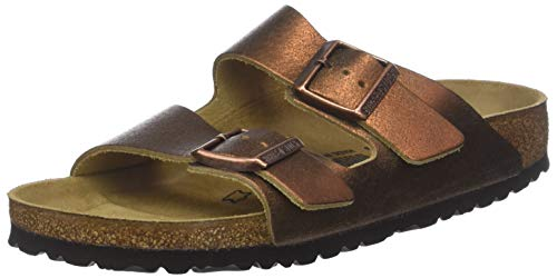 BIRKENSTOCK Damen Arizona Sandalen, Braun Washed Metallic Antique Copper, 38 EU