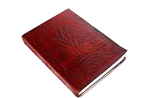 Handmade Embossed Tree of Life Genuine Leather Cover Personal Plain Journal Diary Notebook for Business Work School for everyday use for Men and Women with Vintage Antique Look Gift from Indian Artist