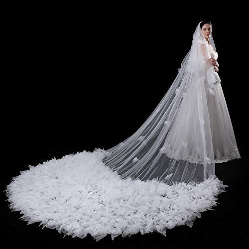MLYC Lang Brautschleier Kathedrale Tüll Spitze Braut Hochzeit Schleier Blumen Deko zum Brautkleid weiß -