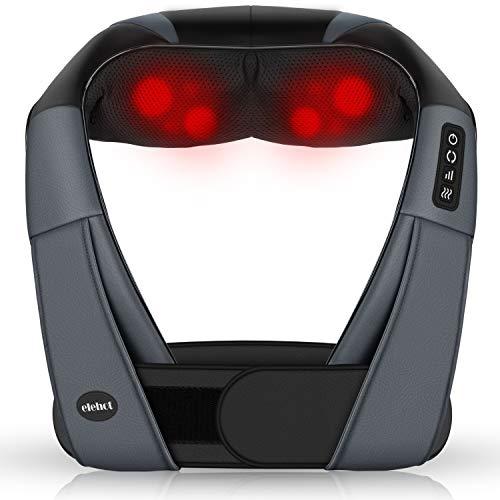 Massagegeräte Elektrisch 4D Nackenmassagegerät mit Wärmefunktion für shiatsu Schulter Fuß Rücken 3 Geschwindigkeit 1.2m Kfz Ladekabel von ELEHOT (blcak)