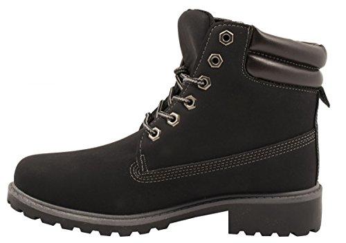 Elara Damen Worker Boots   Bequeme Warm Gefütterte Schnürrer   Outdoor Stiefeletten Berlin Schwarz