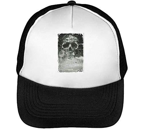 Artistic Skull Death In The Smoke Horror Collection Nice To Trucker Cap Herren Damen Schwarz weiß Snapback