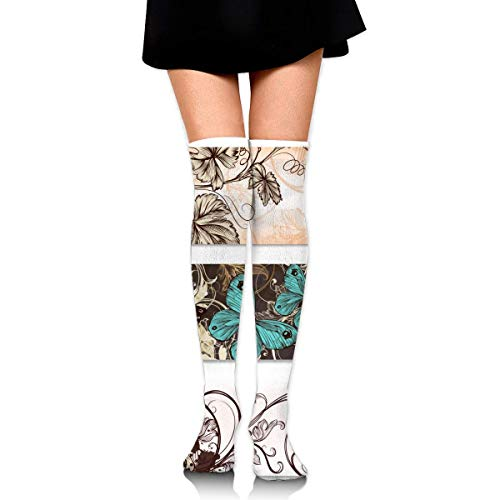 Flowers and Butterflies Customized Long Full Length Socks for Running, Sports, Travel, Cycling, Traveling 25.6 Inchs Black Aqua Flower Pot