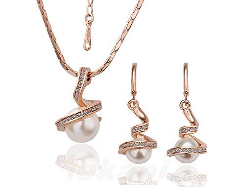 Rotgold überzog Schmuck-Set mit Swarovski Crystal White Pearls - Ohrringe und Anhänger Halskette - Ideales Geschenk für Frauen und Mädchen - Juni Birthstone (White Pearl Halskette)