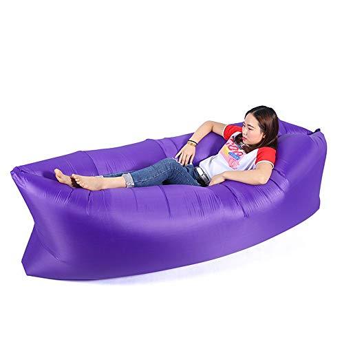 KfeiWO Ligero Exteriores Plegable Hombre Sofa Hinchable Tumbona Aire colchón Hamaca Bebé portátil Puff Cama Playa Impermeable poliéster Saco de Dormir Mujer,púrpura