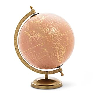 Abbott Collection Globe On Stand, Pink/Gold