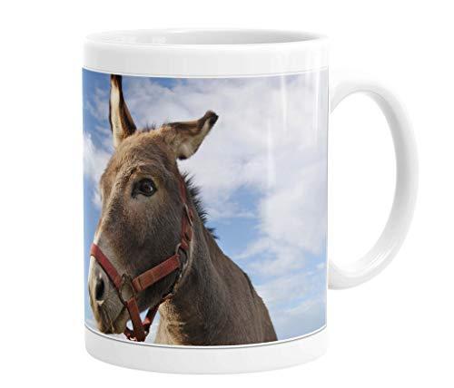 Becher/Tasse/Kaffeebecher/Kaffeepott aus Keramik - 330 ml Motiv: Esel (14)