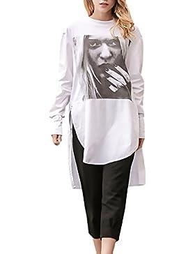 Donna Camicia Autunno Invernali Camicie Elegante Giovane Baggy Blusa Manica Lunga Tshirt Girocollo Stampa Pattern...
