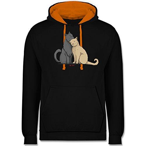 Katzen - kuschelnde Katzen - Kontrast Hoodie Schwarz/Orange
