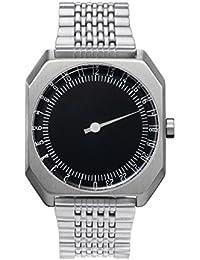Slow Jo 02 - All Silver Steel, Black Dial slow Jo 02 - Mouvement Cristal de roche - Affichage Analogique - Bracelet Acier inoxydable Argent et Cadran Noir - Mixte